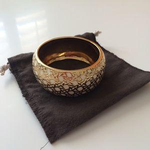 Kate Spade white gold large bracelet caning weave